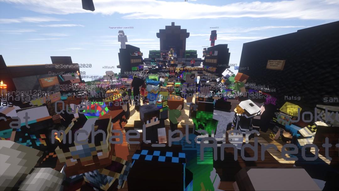 """En gruppe spillere på NRK Supers Minecraft-server """"Ragnarok"""" i mars 2018"""
