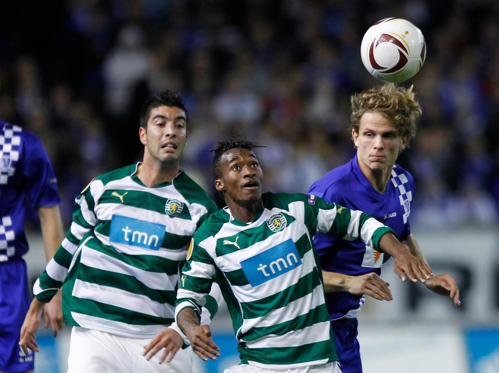 DRO TIL BELGIA: I 2009 dro Hanstveit til belgiske Gent. Her i aksjon mot Sportings Yannick Djalo i Europa League 2010.