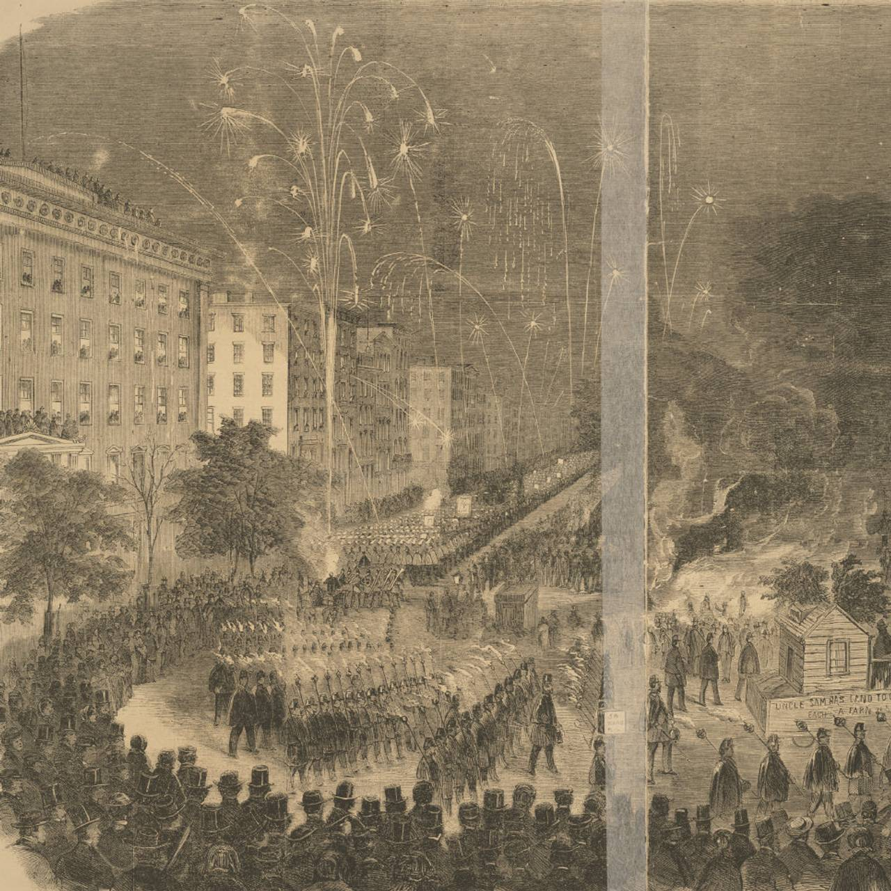 Fra rundt 1860: Grand Torchlight Procession of the Wide-Awake Clubs in the City of New York