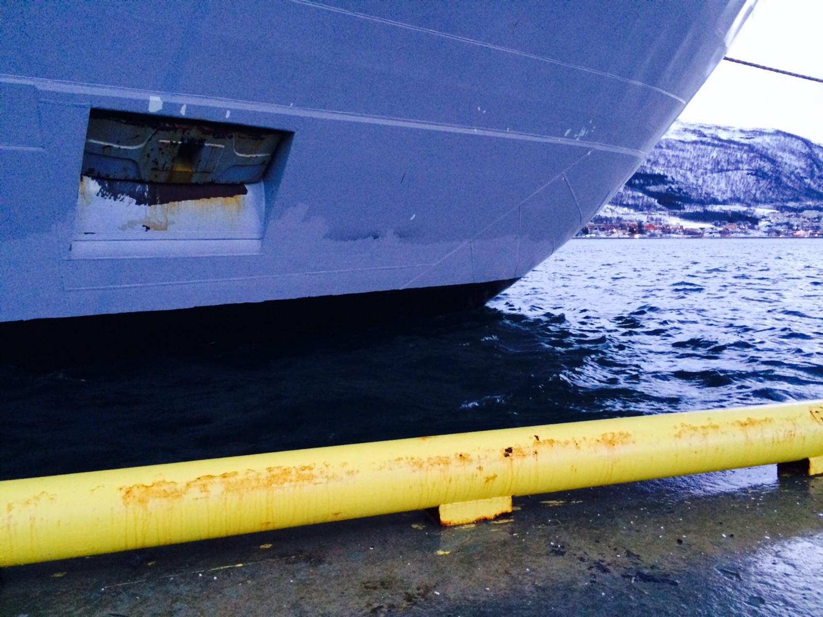 Høy vannstand i Tromsø 27. november 2015.