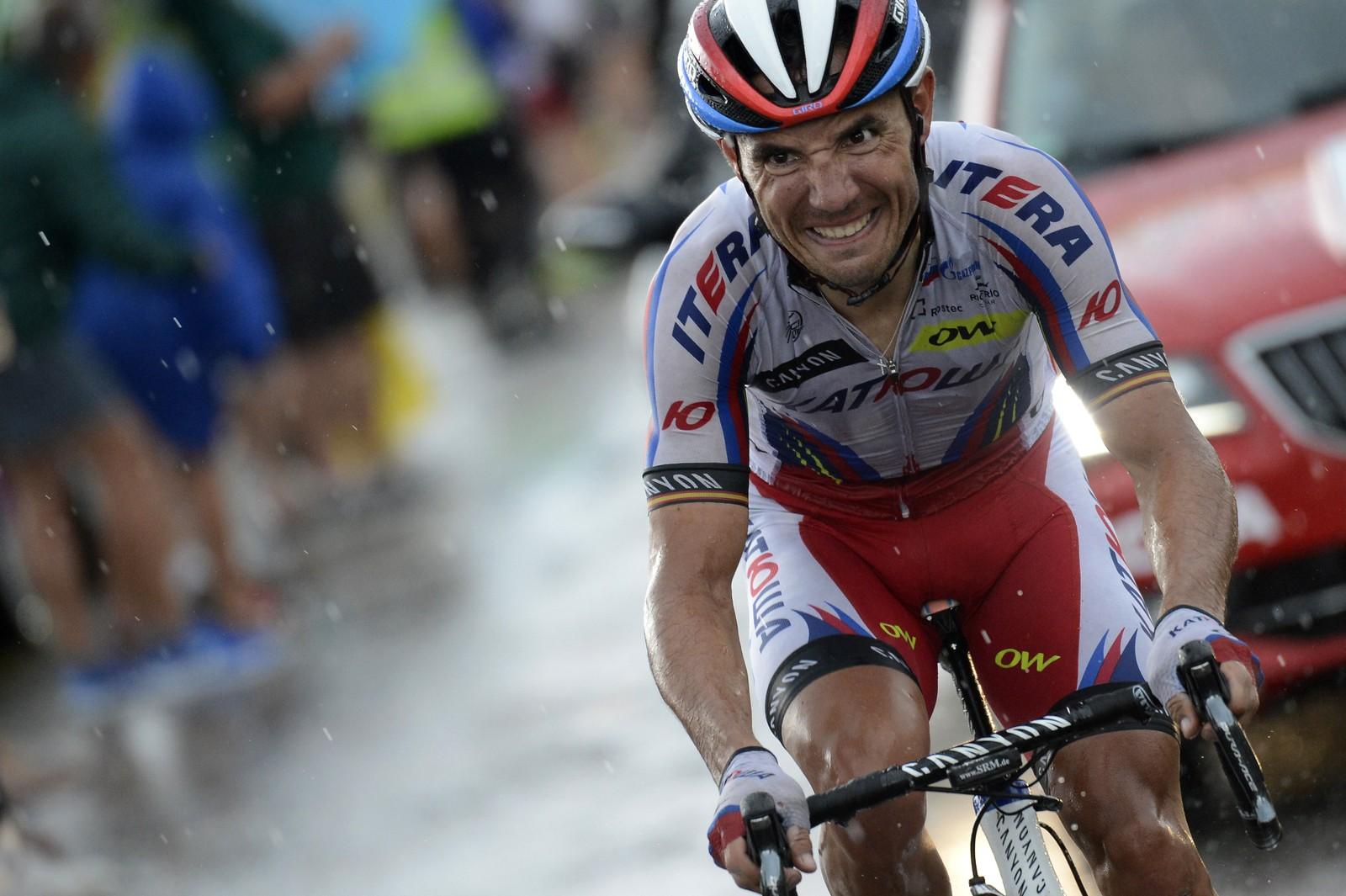 Joaquim Rodriguez ga alt på den tolvte etappen... AFP PHOTO / JEFF PACHOUD