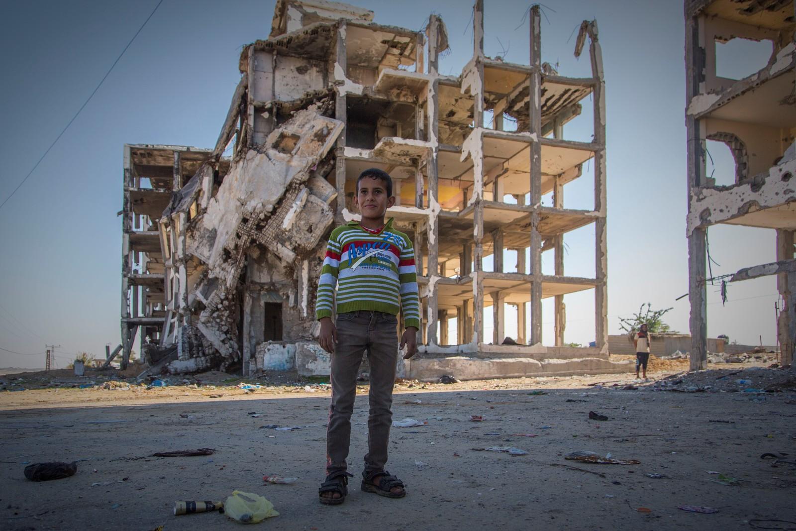 Ødeleggelsene er store i Al Nada Tower, nord i Gaza.