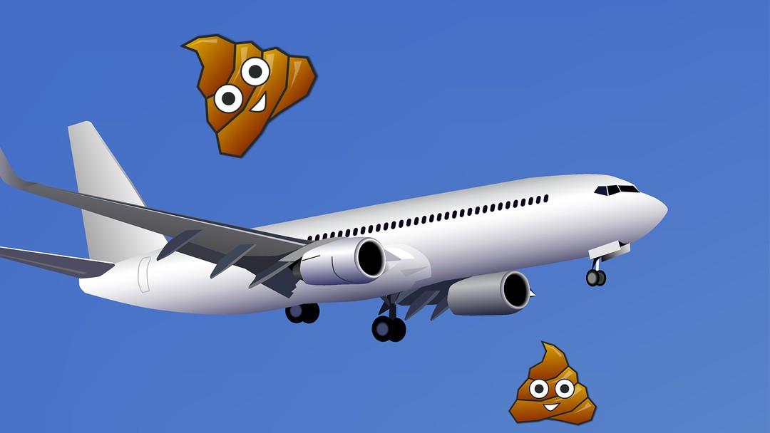Et fly i lufta med bæsje-emojis