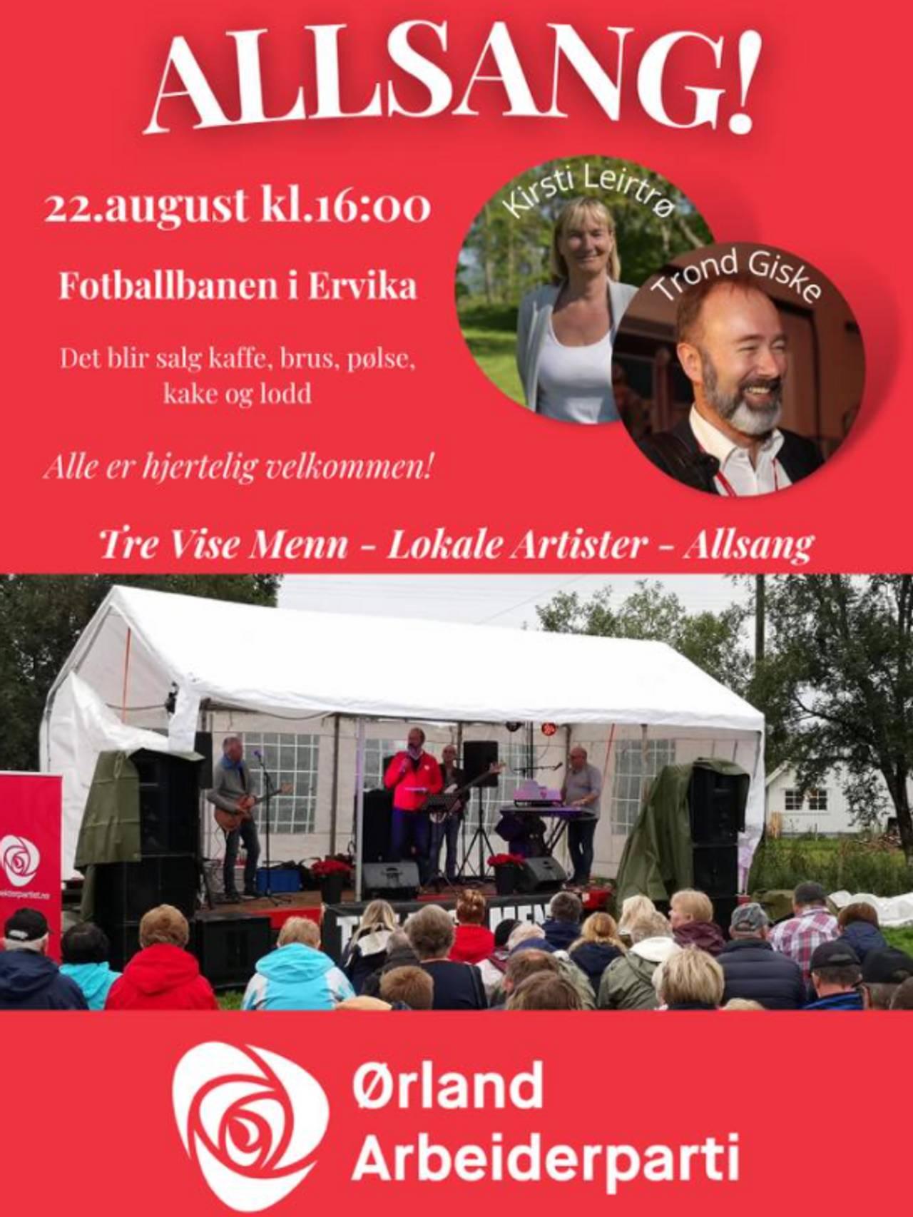 Allsang uten grenser med Trond Giske, arrangert av Ørland Arbeiderparti.