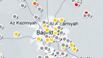 Utsnitt fra NRKs interaktive krigskart fra Irak