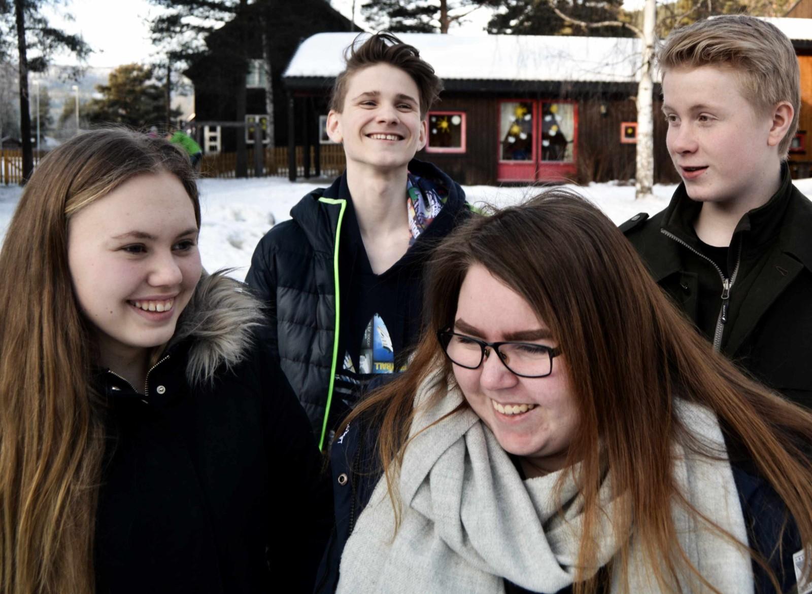 Deltakarane til klassequiz 2017 frå Heidal skule.  Frå venstre: Barbro Svindland, Nathalie Ødegård, Isak Knørr og Paal Stubbrud.