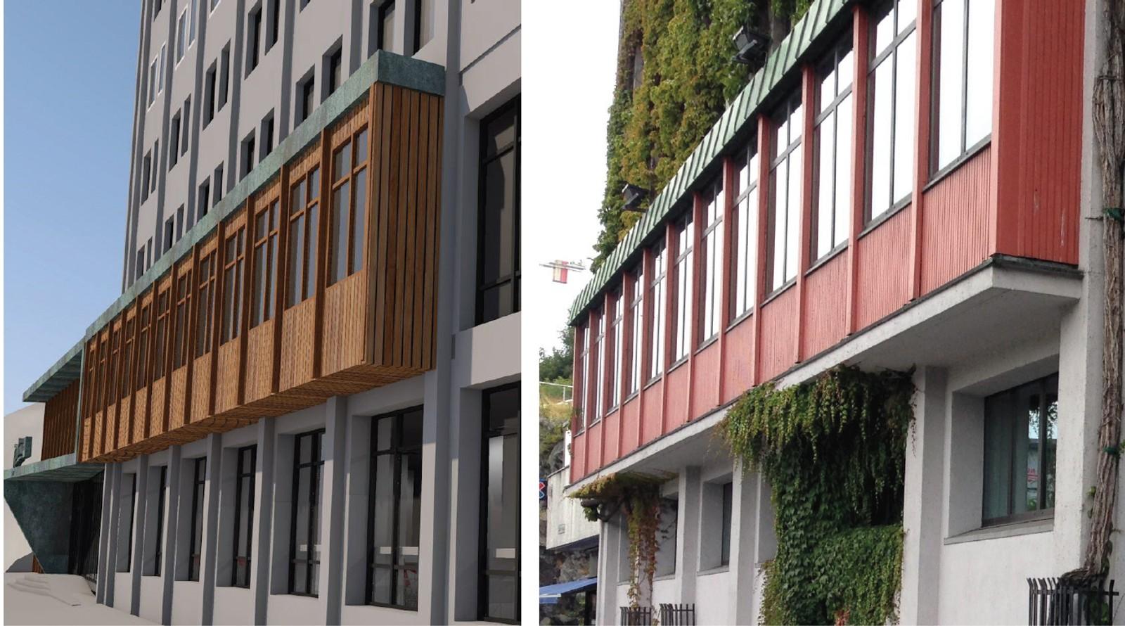 Det karakteristiske karnappet i rødt blir ført videre bortover bygningen i et teaklignende materiale.