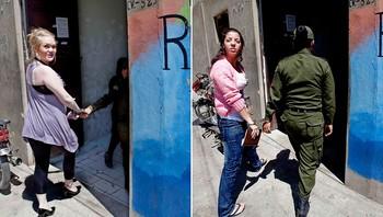 Stina Brendemo Hagen og Madeleine Rodriguez på vei inn i fengselet i Cochabamba, Bolivia