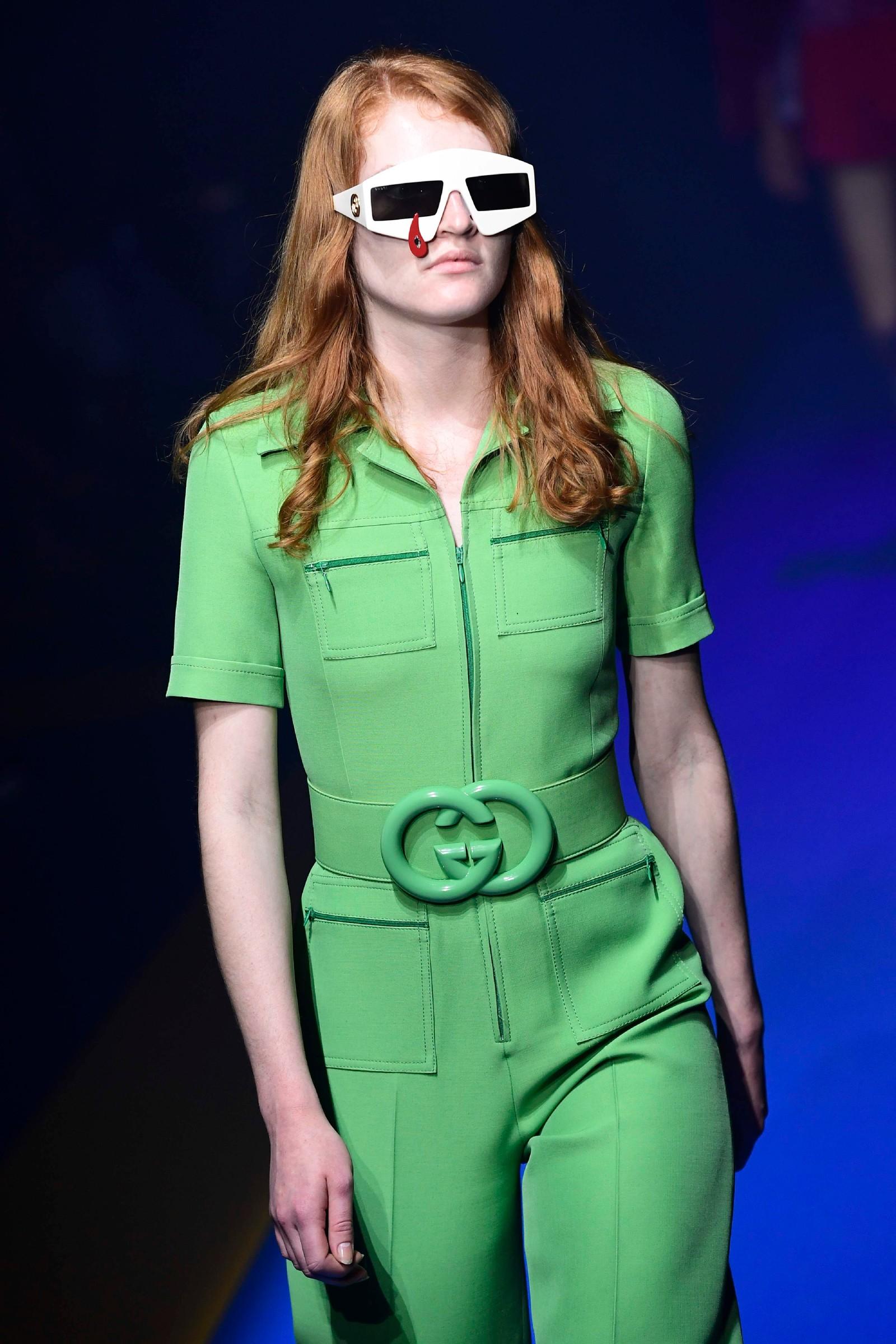 Gucci: Grøn buksedress.