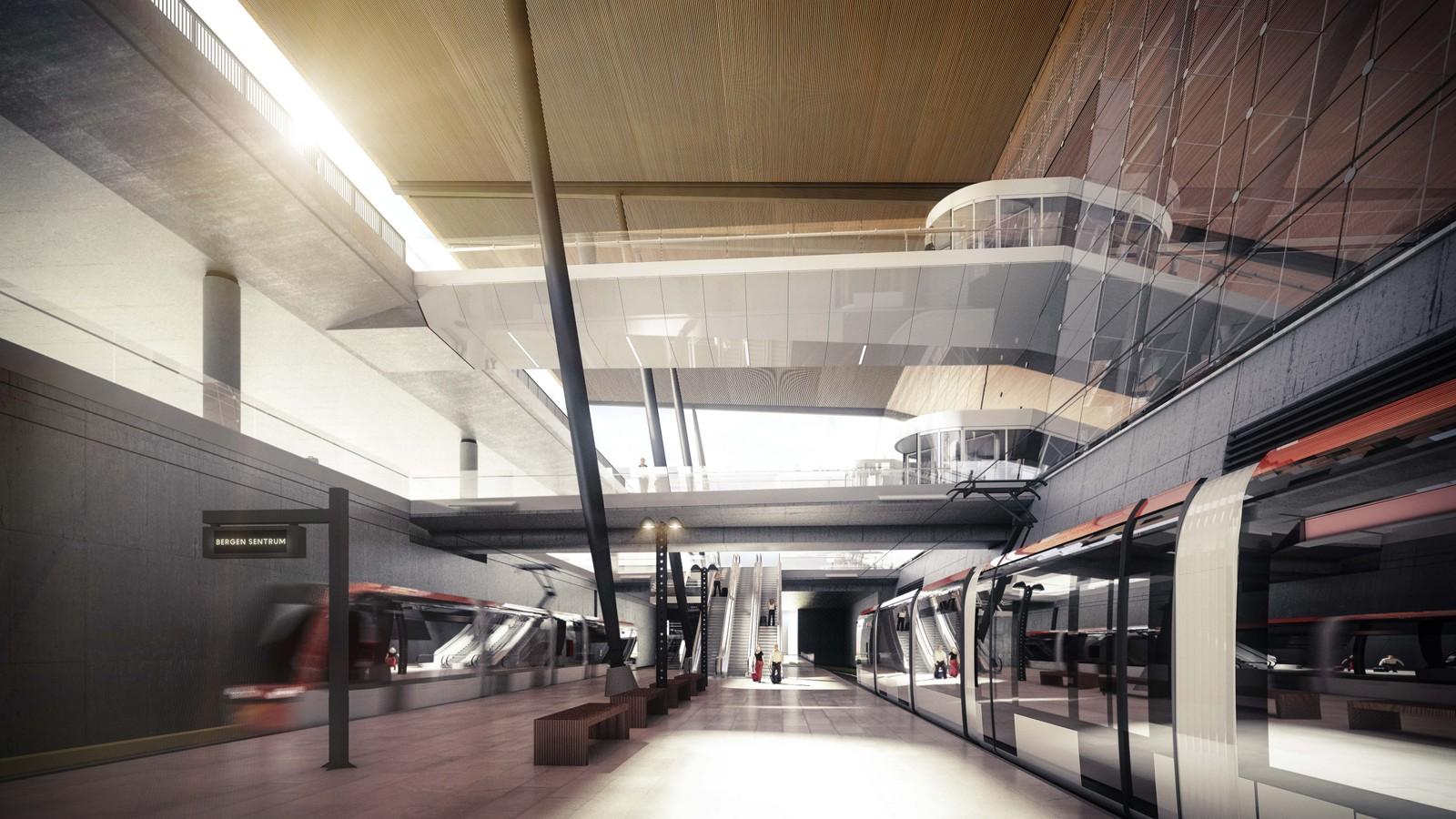 BYBANEN: Bybanens endestasjon vil ligge i terminalens underetasje. Illustrasjon: Nordic – Office of Architecture