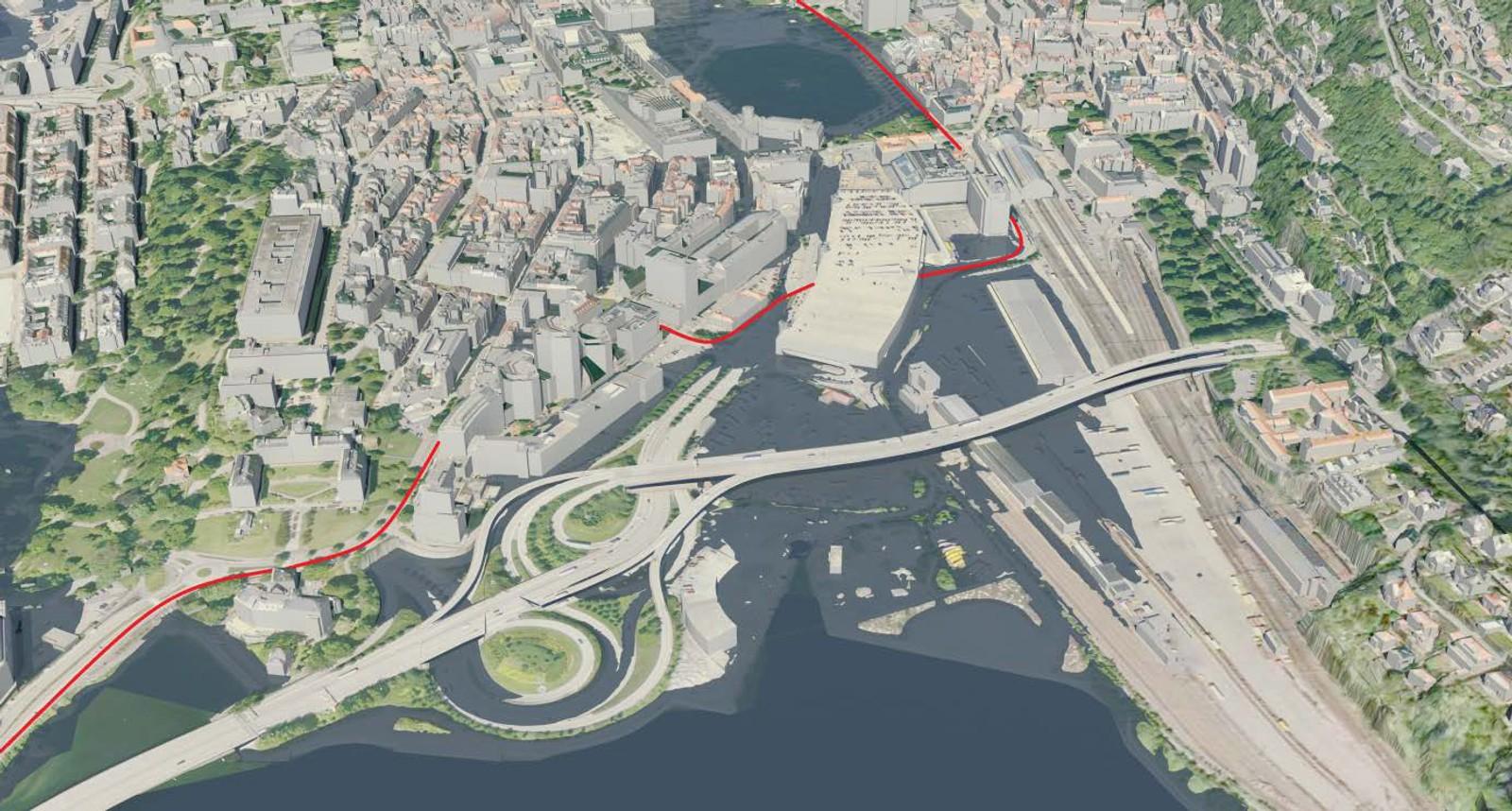 NYGÅRDSTANGEN: Illustrasjonen viser at også deler av bybanetraseen gjennom sentrum vil bli oversvømt ved vasstand 2,37 meter over sjøkartnull.