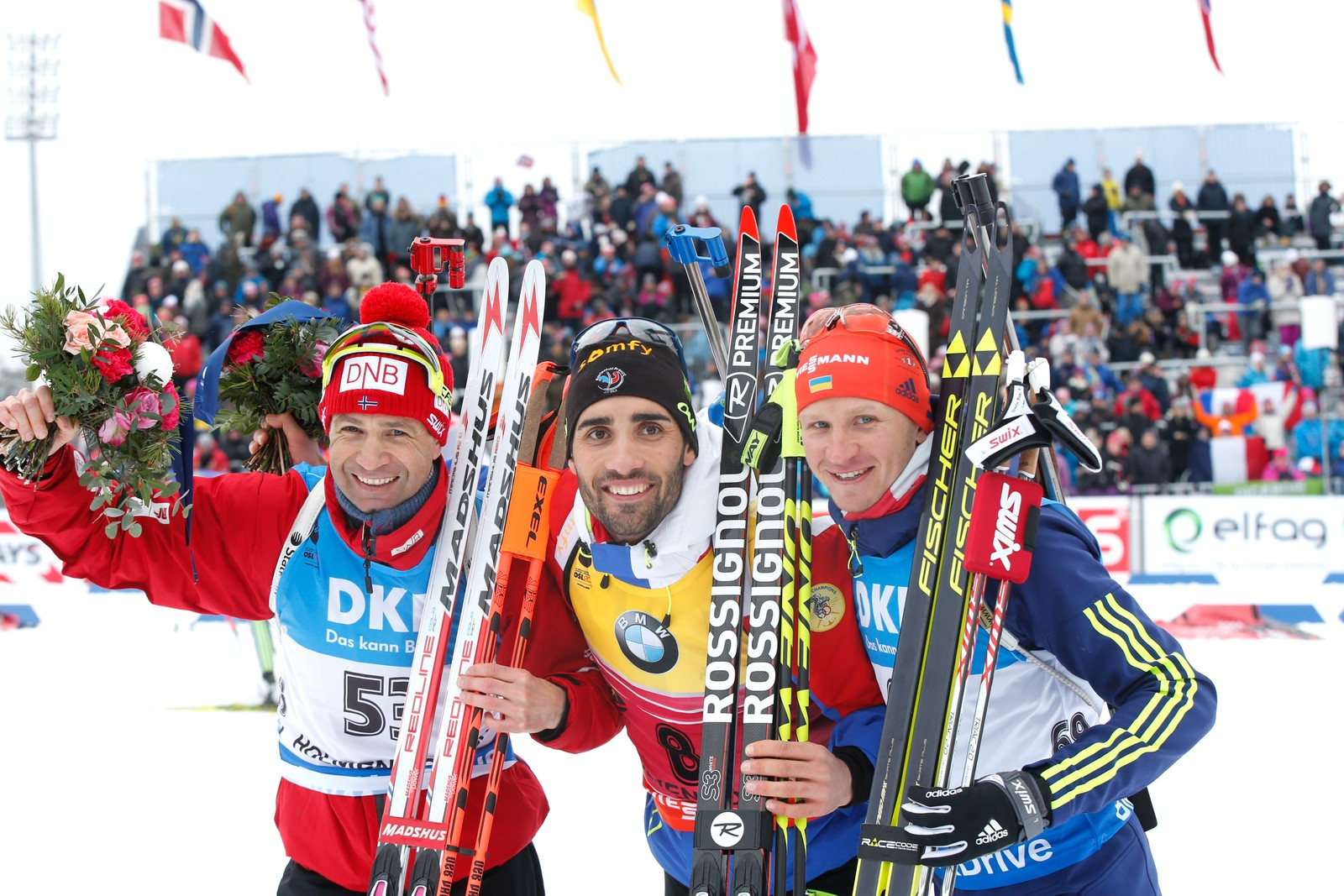 IBU Biathlon World Championships Oslo 2016: Sprint events Saturday 5 March:  Gold Martin Fourcade (FRA), silver Ole Einar Bjørndalen (NOR) (left) and bronze Sergej Semenov (UKR) (right).