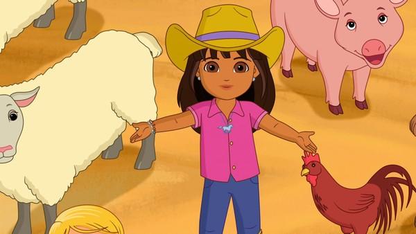 Dora er på bondegård