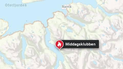 Skogbrann øst for Skjomen i Ofoten