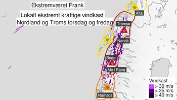Ekstremværet Frank varslet i nord