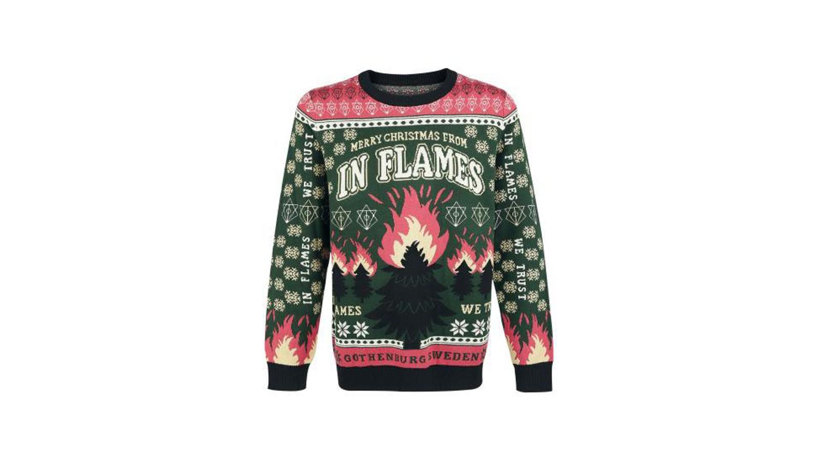Julegenseren til det svenske bandet har, som en klassisk julegenser, et juletre som hovedmotiv. Forskjellen er vel bare at juletreet er som bandnavnet, i flammer.