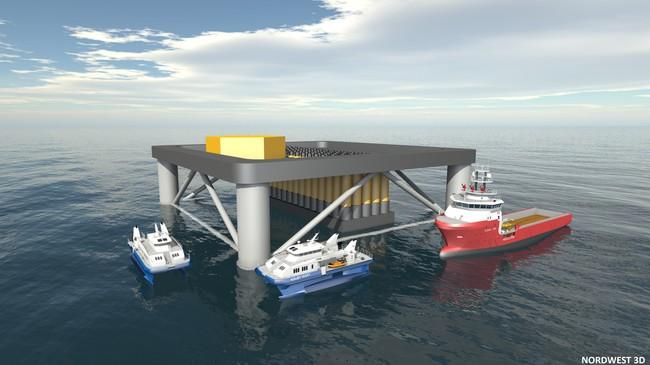 Slik skal bølgjekraftverket til Havkraft sjå ut. Foto: Havkraft/Nordwest 3D.