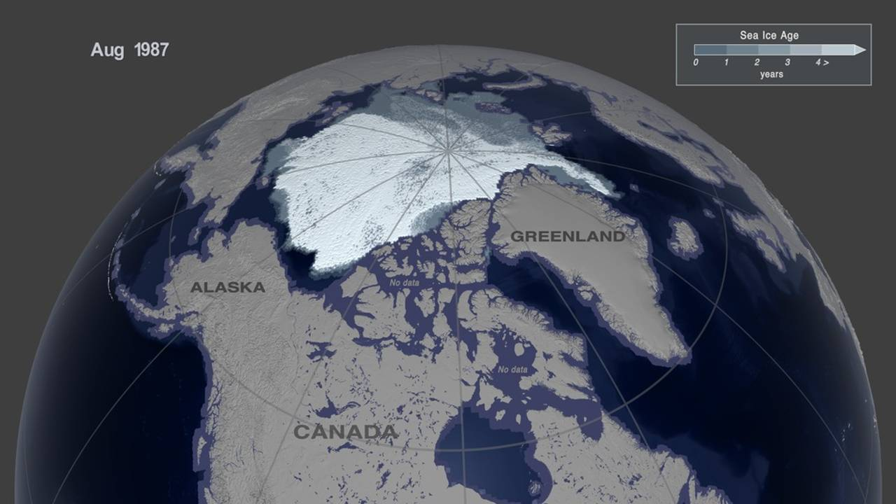 This image shows the Arctic sea ice age in August, 1987