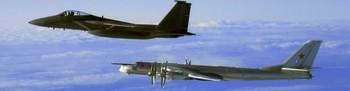 Russisk bombefly og amerikansk jagerfly. Illustrasjonsfoto