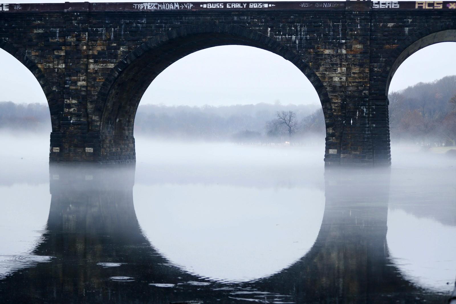 Pittoresk i Philadelphia. Dette er bro som går over elven Schuylkill.