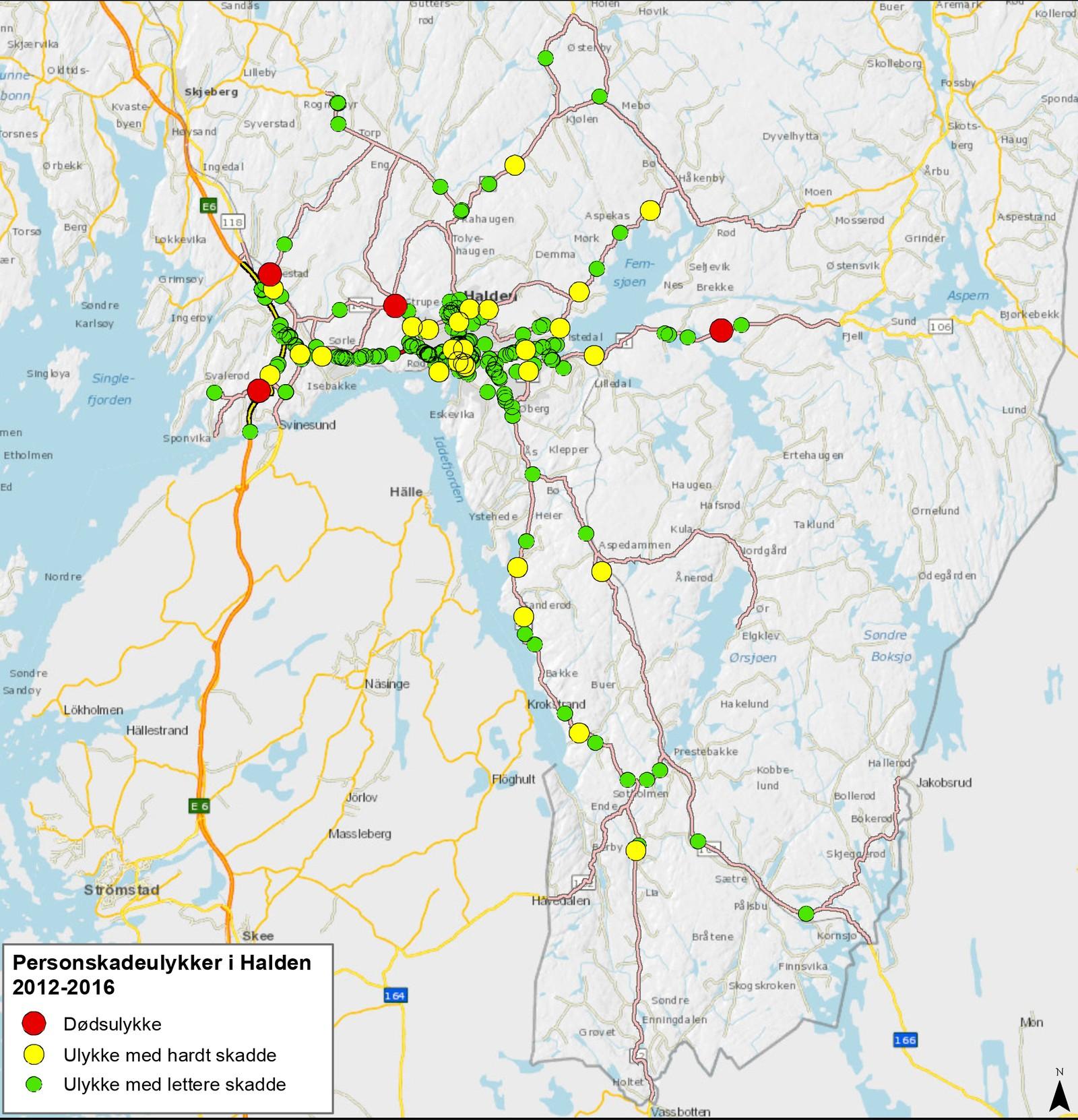 I Halden har det vært flest ulykker i sentrum og på veien mellom sentrum og E6.