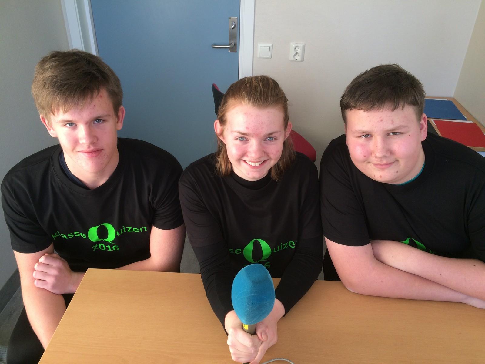 Jonas Hordvik, Karen Brodahl og Ronny Skarabråthen fra Grue barne- og ungdomsskole fikk 8 poeng