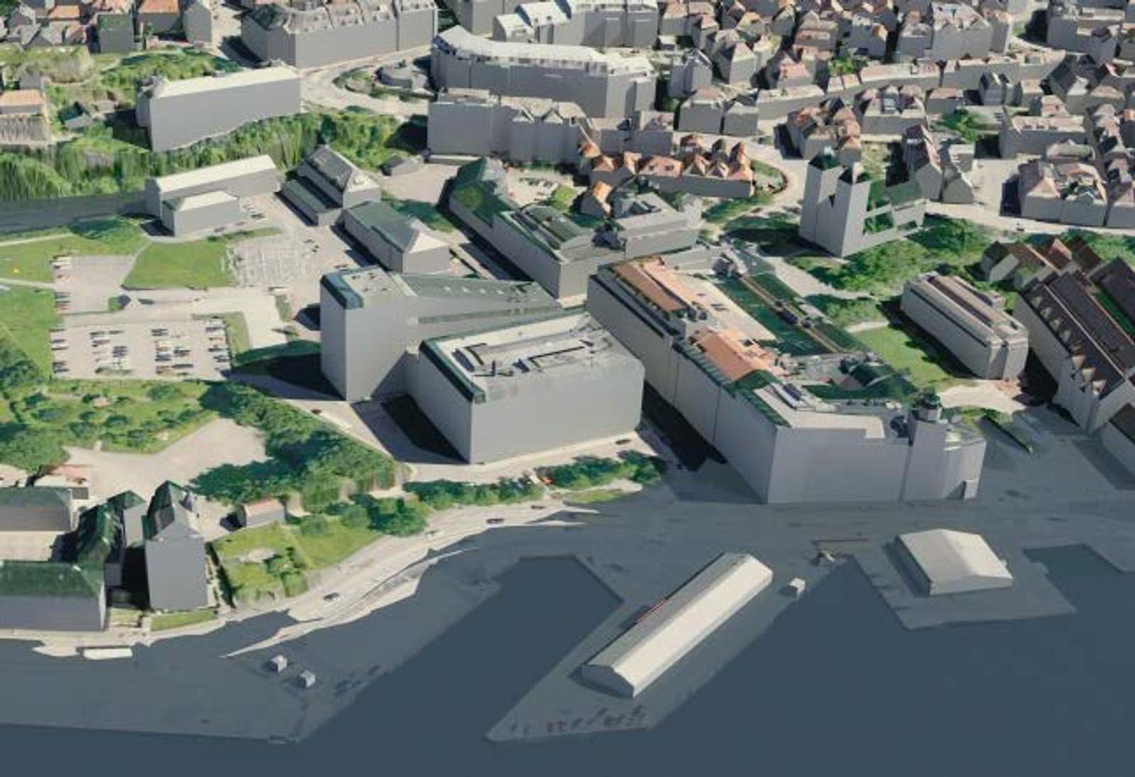 KOENGEN: Nordre del av Bryggen med vasstand 2,37 meter over sjøkartnull. Merk at vatnet går inn Sandbrogaten, men også kjem inn over Koengen. Torsdag er det «berre» venta 220-225 centimeter over.