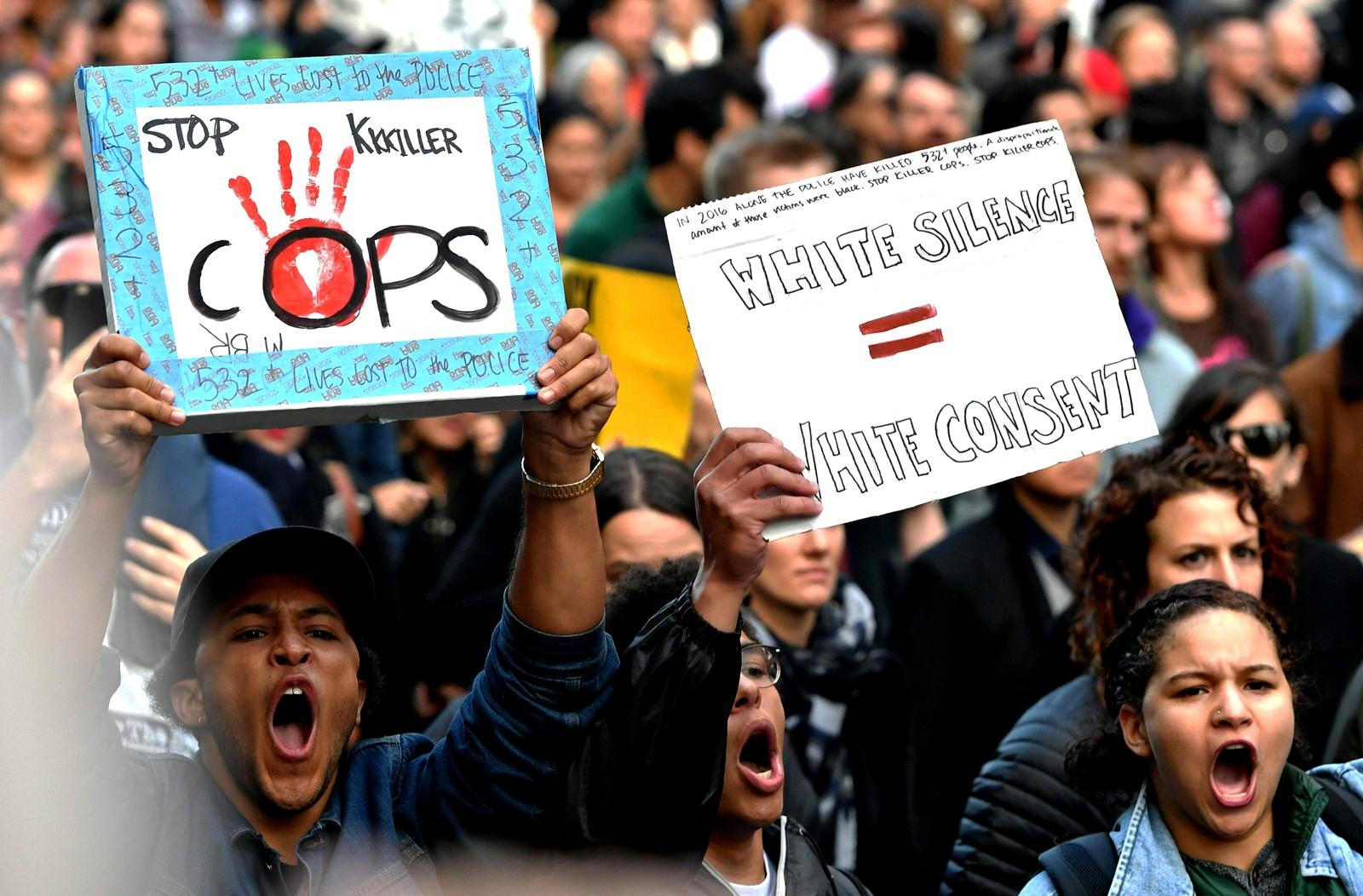 SAN FRANSISCO: Flere tusen demonstranter møtte opp for å støtte Black Lives Matter-bevegelsen.
