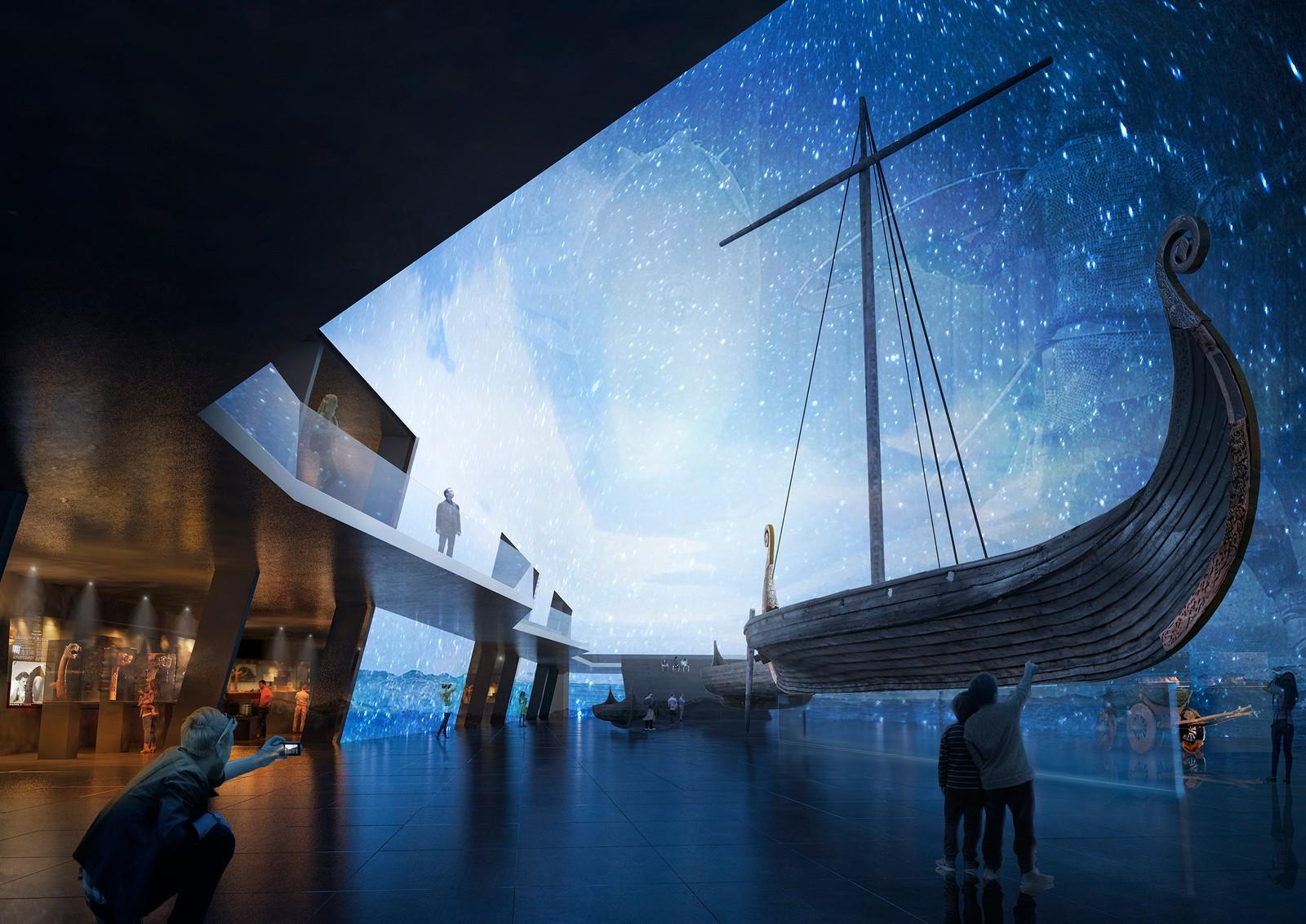 Dette forslaget viser frem vikingskipene med en stjernehimmel i bakgrunnen. NRK har ikke fått vite hvem som har sendt inn bidragene.