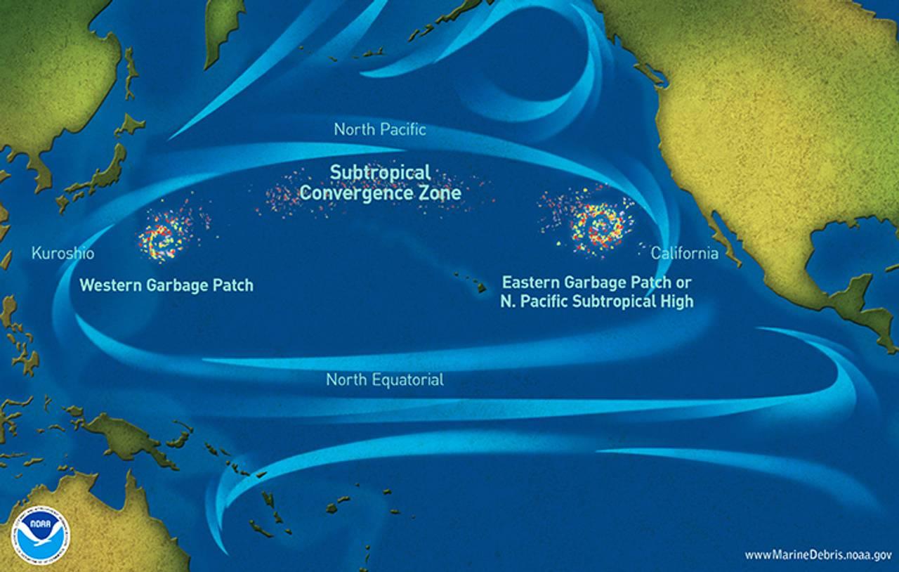 Kart fra USAs Hav- og Atmosfære-etat (NOAA) som viser hvor de største plastkonsentrasjonene er