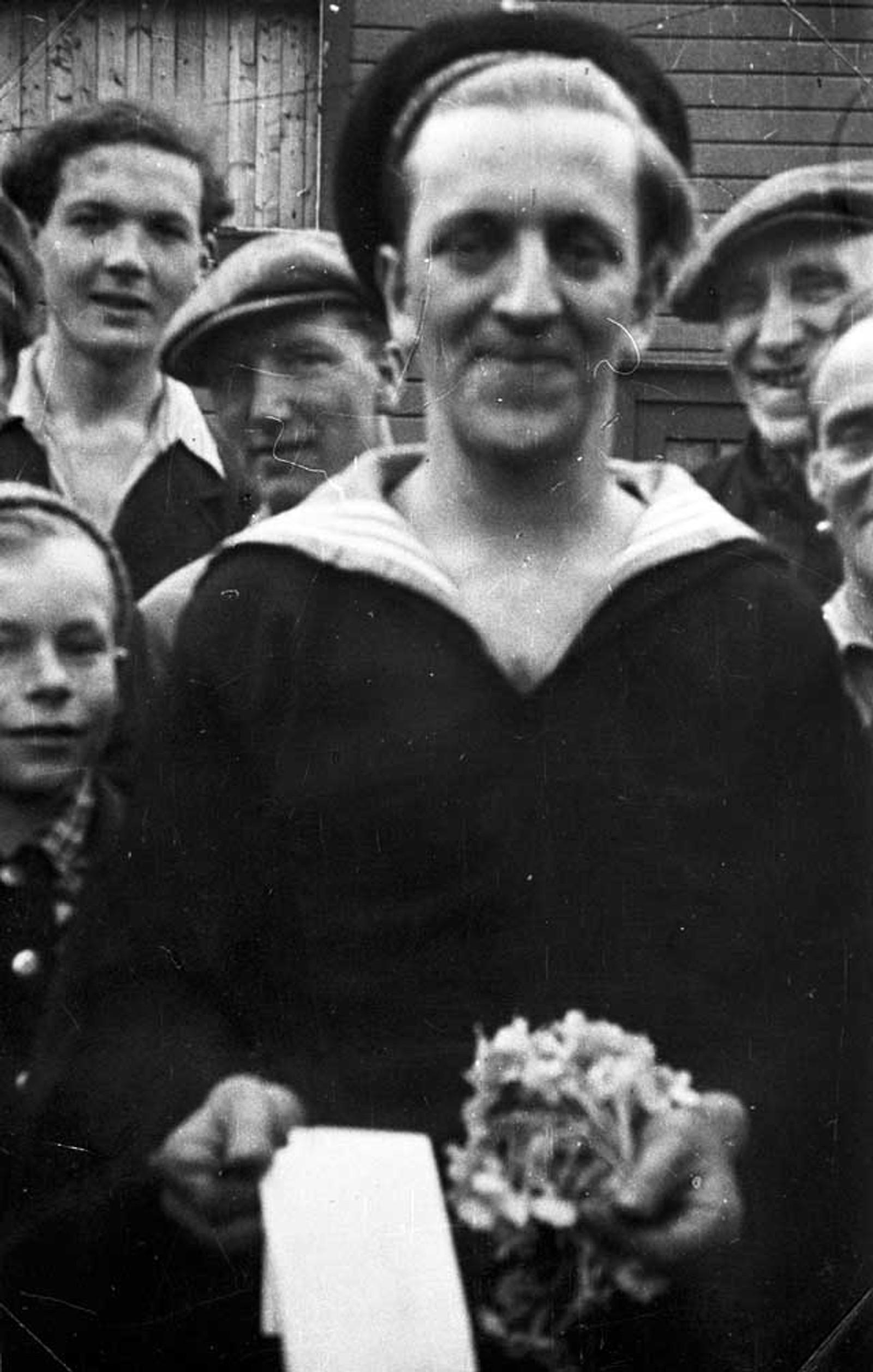 MARINEGAST: Dette skal være den første norske gasten som vendte tilbake på norsk jord etter frigjøringen. Han het Berntsen og var fra Damsgård.