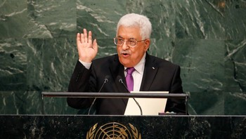 UN-ASSEMBLY/ Palestinian President Mahmoud Abbas addresses attendees during the 70th session of the United Nations General Assembly at the U.N. headquarters in New York