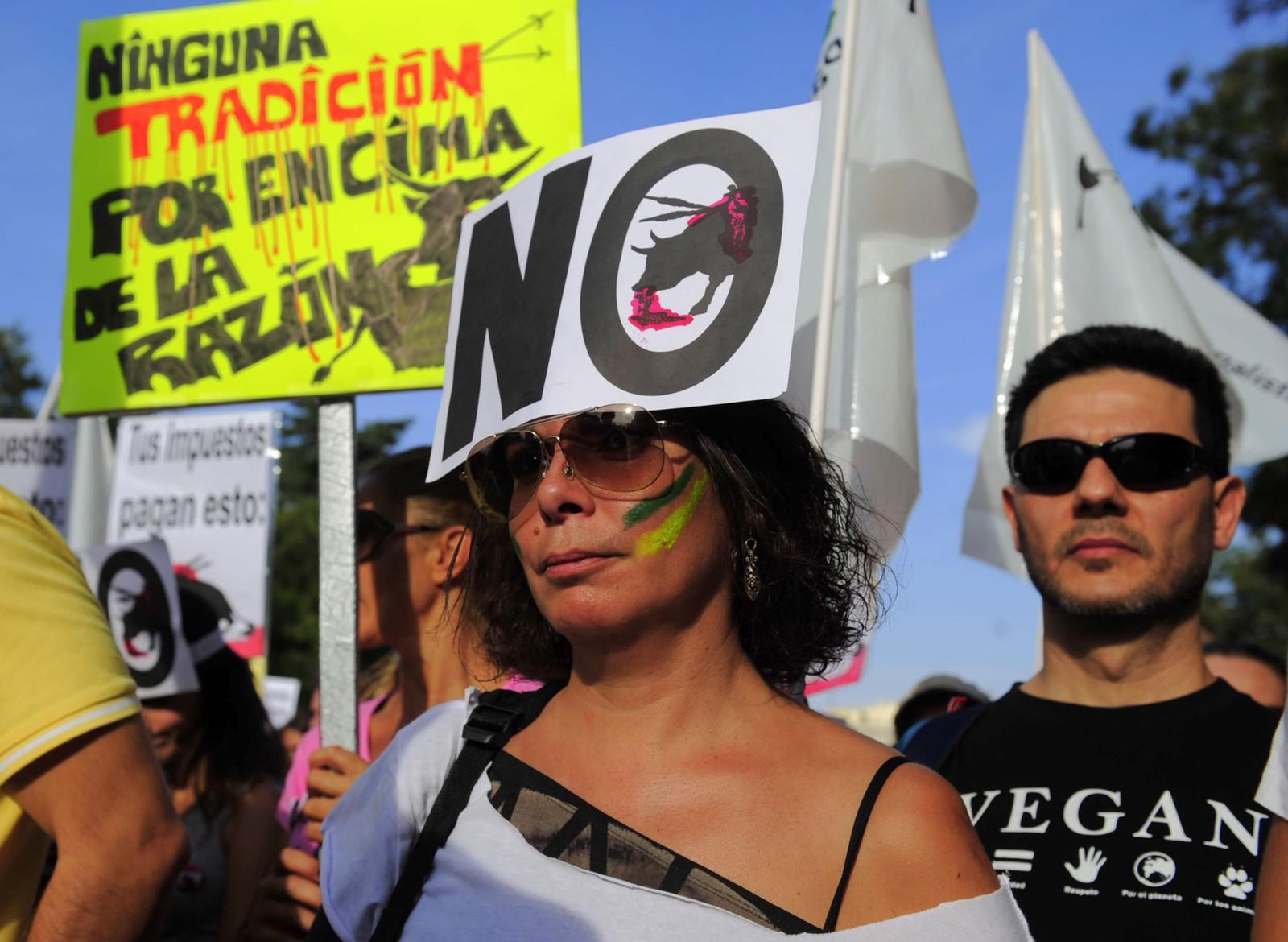 Folk frå heile Spania deltok i demonstrasjonen i Madrid.