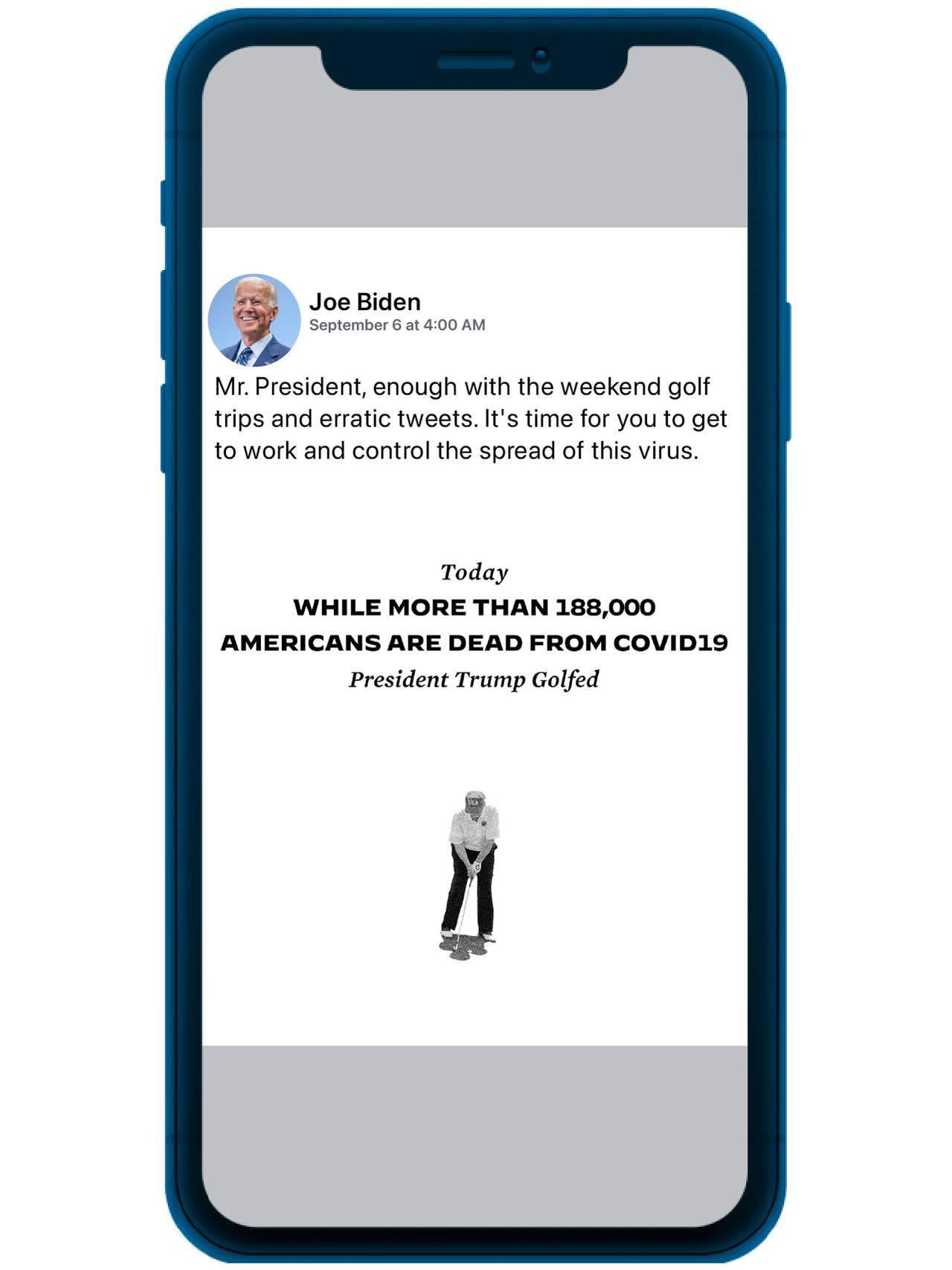 Bilde av negativ reklame av Trump fra Biden