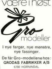 Utsnitt av annonse for Grodås Fabrikker A/S på 1960-talet.