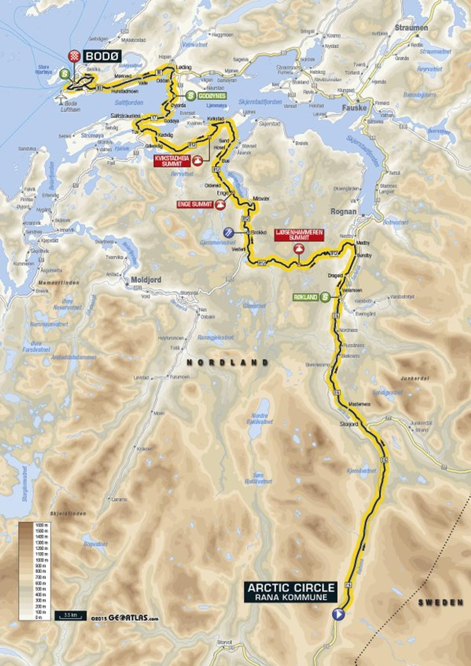Fjerde og siste etappe er på 193 kilometer og går fra Polarsirkelen til Bodø, hvor det er målgang.