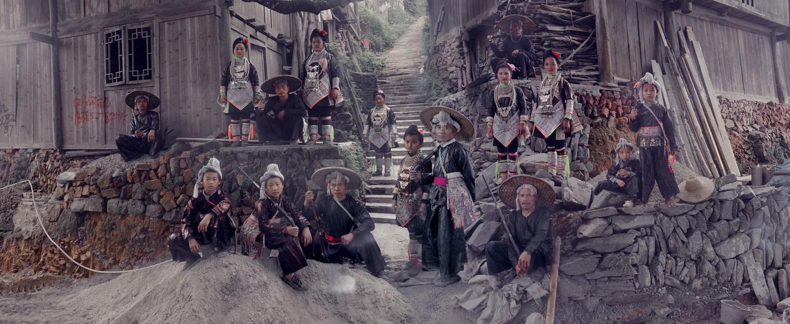 Basha Miao-landsby i Kina.