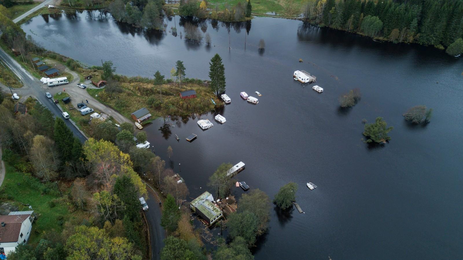 VENNESLA: Regn og uvær på Sørlandet. Dronefoto som viser Bjønndalen Camp nord for Vennesla.