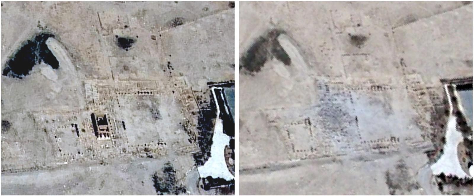 Baal Shamin-tempelet i Palmyra, Syria stammer fra romertiden, men er nå ødelagt viser disse satelittbildene.  IS skal stå bak sprengningen som ødela tempelet, en handling Unesco kaller en krigsforbrytelse.