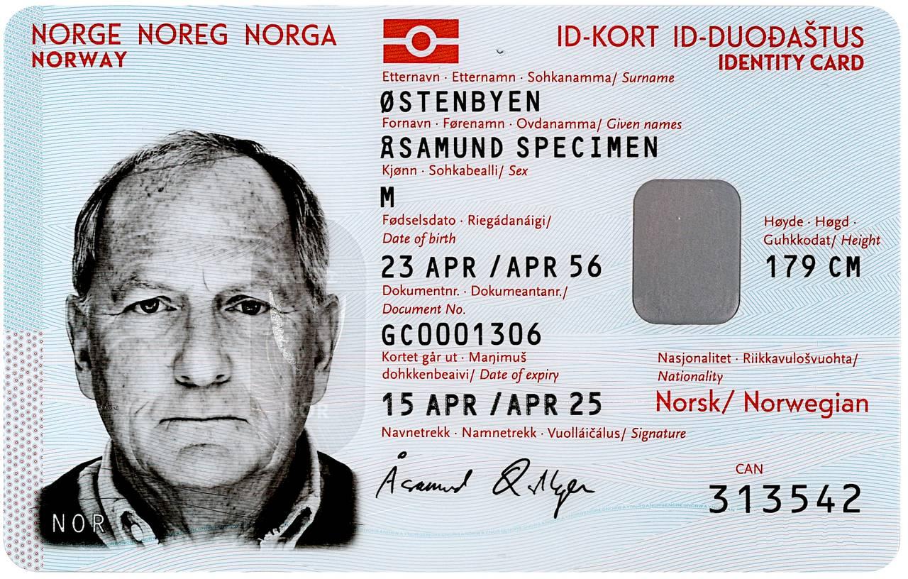 Nasjonalt ID-kort med reiserett forside