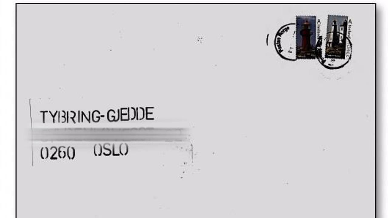 Konvolutten som ble sendt til ekteparet Tybring-Gjedde. NRK har sladdet adressen.
