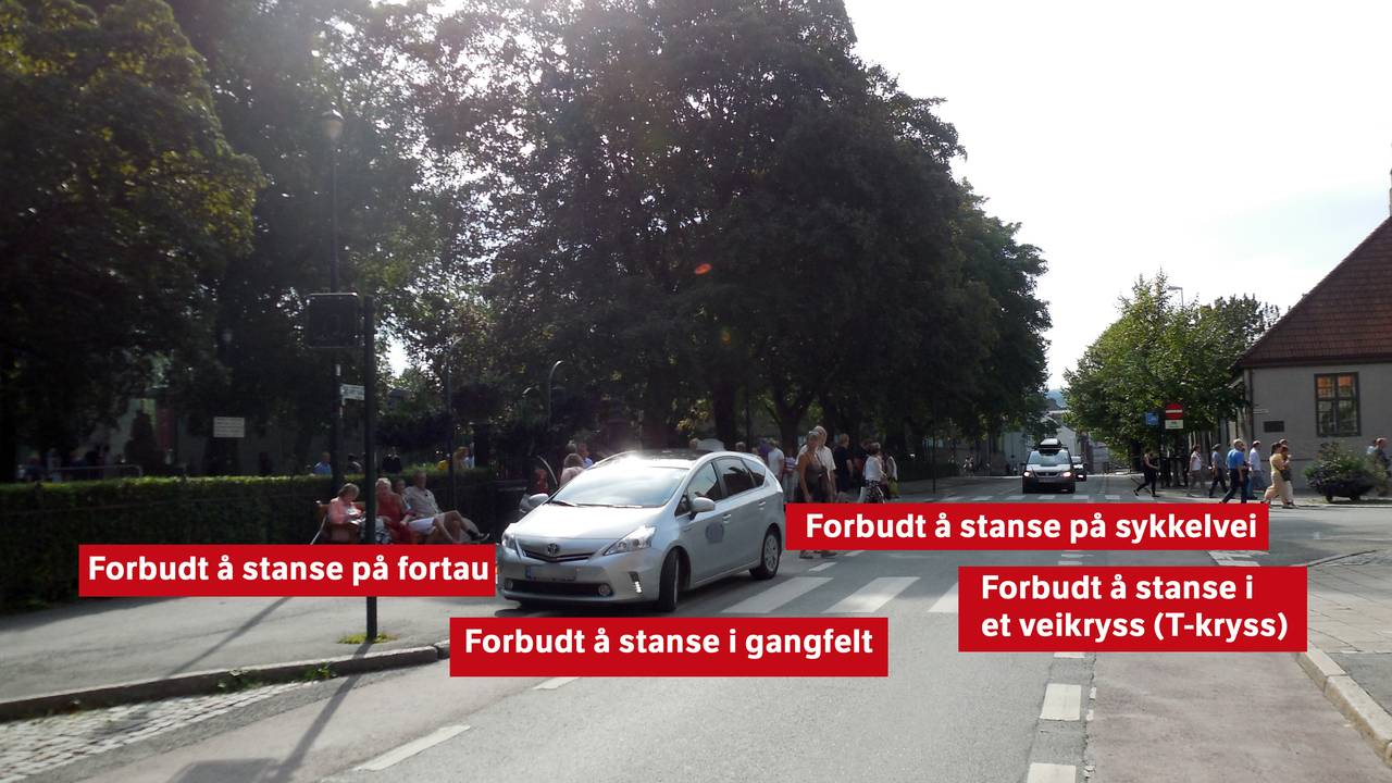 Fasit på spørsmålet fra forrige bilde. 1. Forbudt å stanse på fortau 2. Forbudt å stanse i gangfelt 3. Forbudt å stanse på sykkelvei 4. Forbudt å stanse i et veikryss (T-kryss)