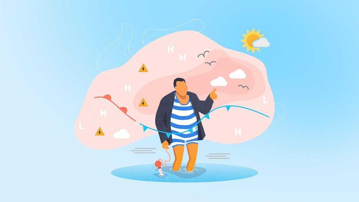Illustrasjon av Kristian Gislefoss foran et sommerlig værkart