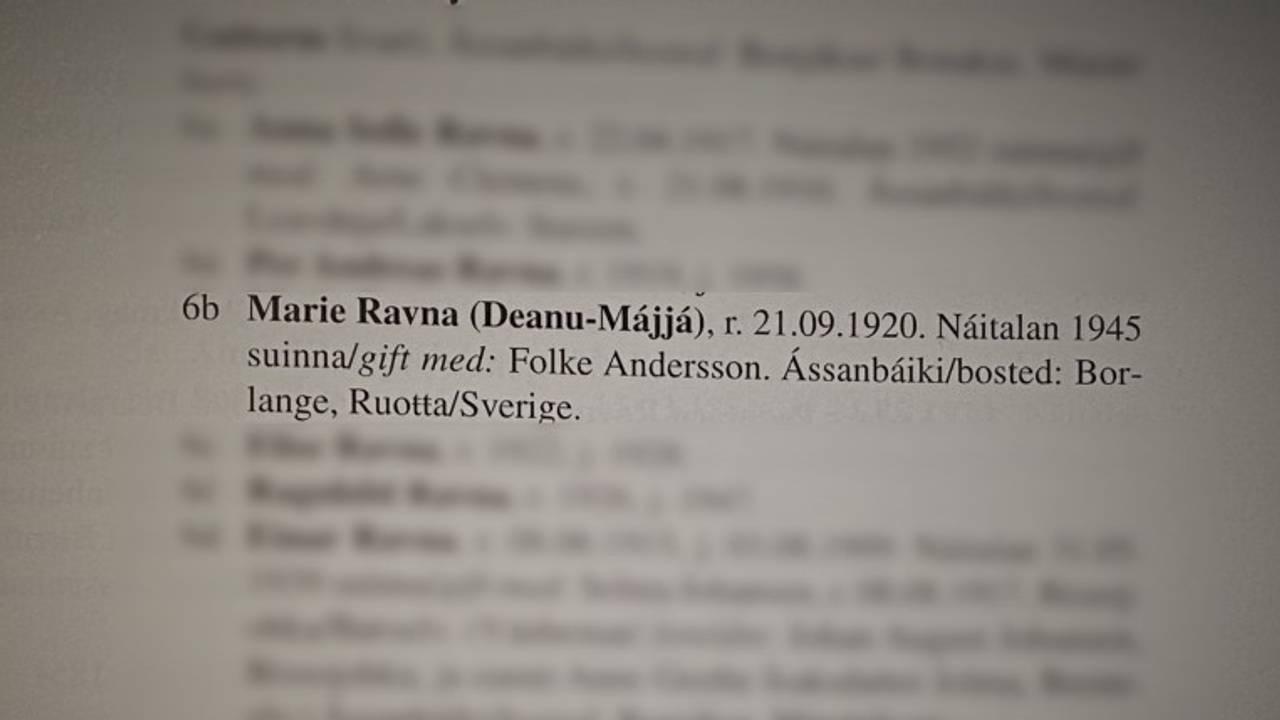 Om Marie Ravna i boka om slektene i Tana