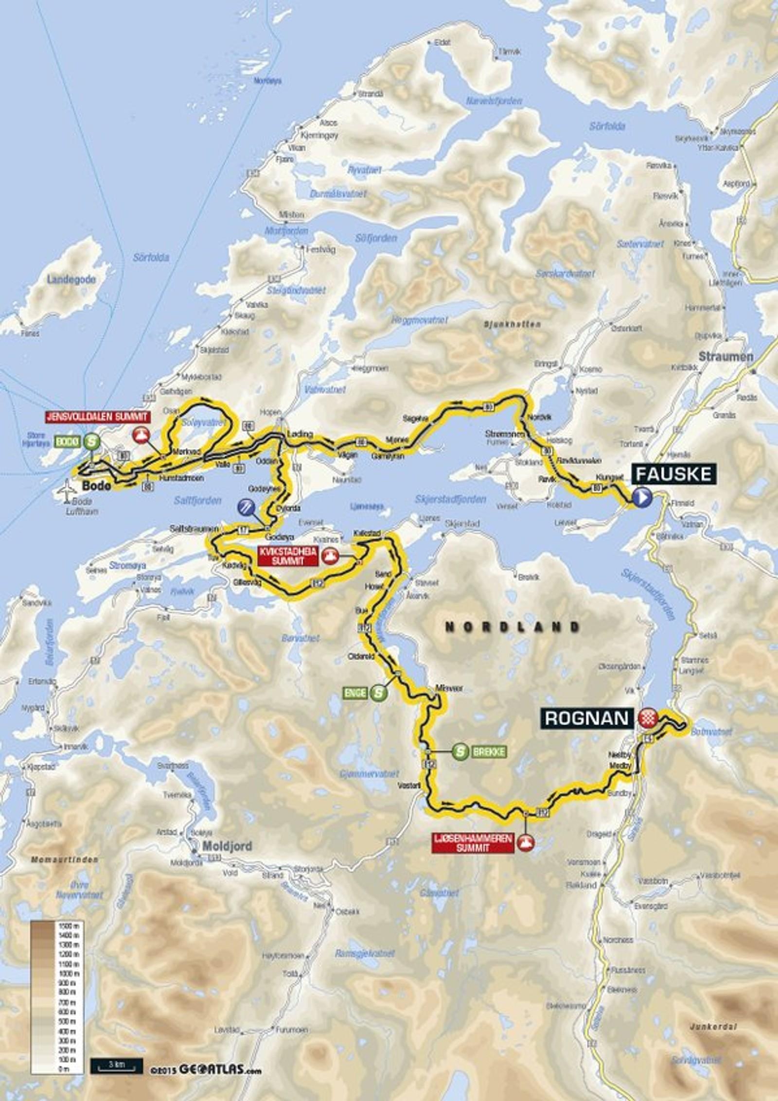 Første etappe Fauske-Rognan er på 176 kilometer. Her skal rytterne innom Saltstraumen.