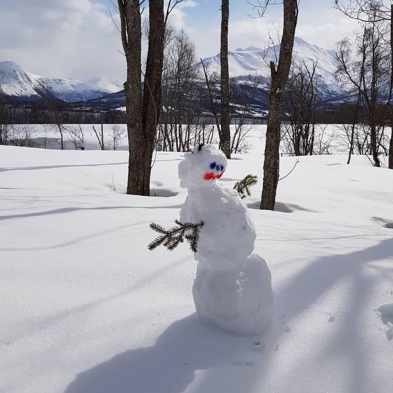 Snømann i mai. Bildet er tatt i Balsfjord.