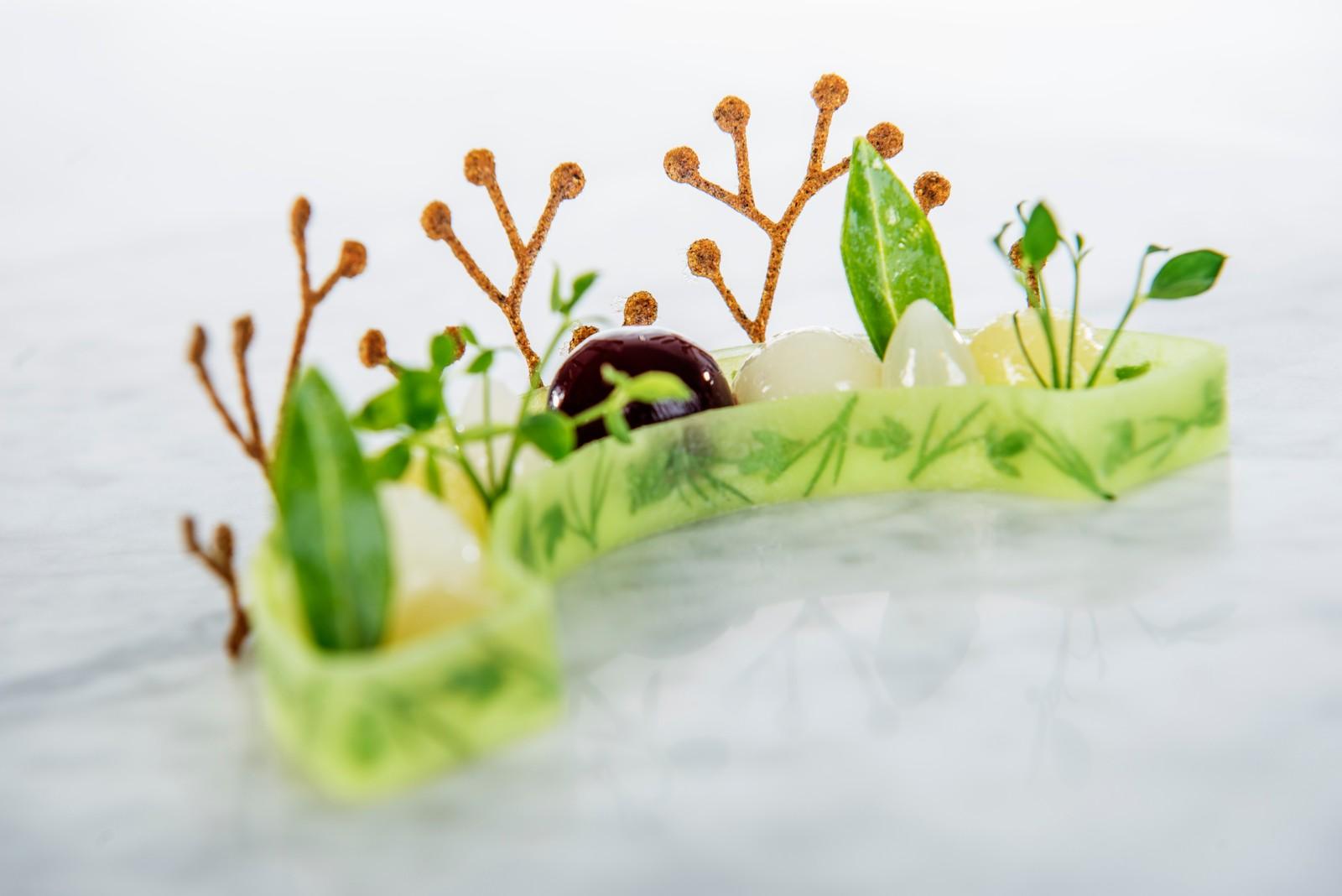 Vinterhage med røkte jordskokker og hardangereple (Vegetar-tallerken)
