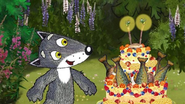 Norsk animasjonsfilm. Den Vesle Grå Ulven ønsker seg en kake med lys på til bursdagsfest. Alle vet at kaker, de vokser jo ikke på trær. Det er bare sopp, bær og nøtter her i skogen. Men dette er ikke et problem for gode venner!