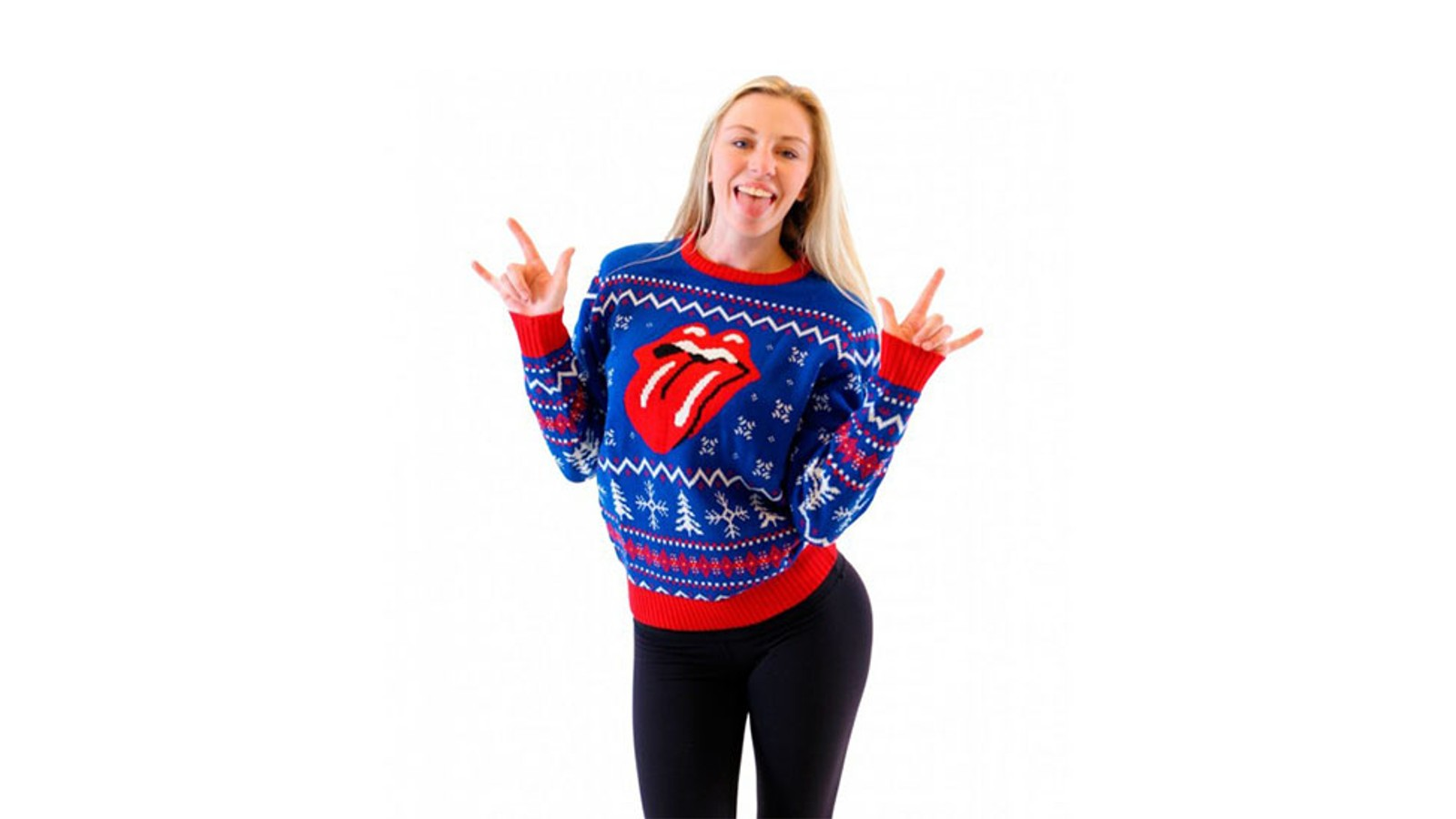 Den ikoniske logoen til The Rolling Stones er selvfølgelig på julegenseren deres også. Med denne er det ingen tvil om hvilket band som er din favoritt, i tillegg til at den skriker «jul» med snøkrystallene og juletrærne.