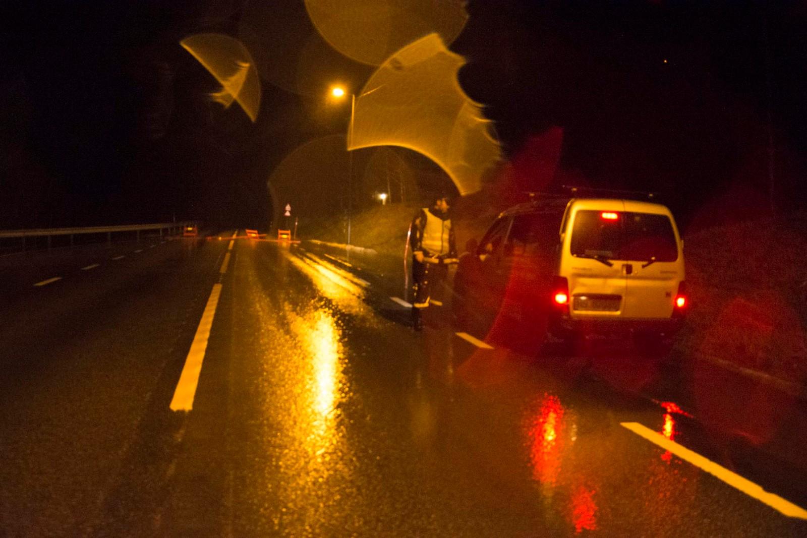 Vegen blir stengt over natta.